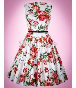Krásne bavlnené vintage šaty s kvetovanou potlačou