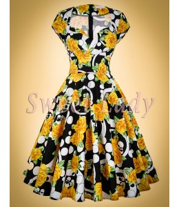 Bavlnené retro šaty so vzorovanou potlačou