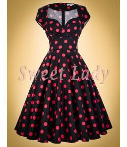 Krásne čierne šaty s ružovými bodkami v štýle retro