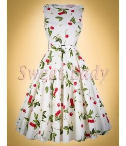 Čerešňové retro šaty so širokou sukňou