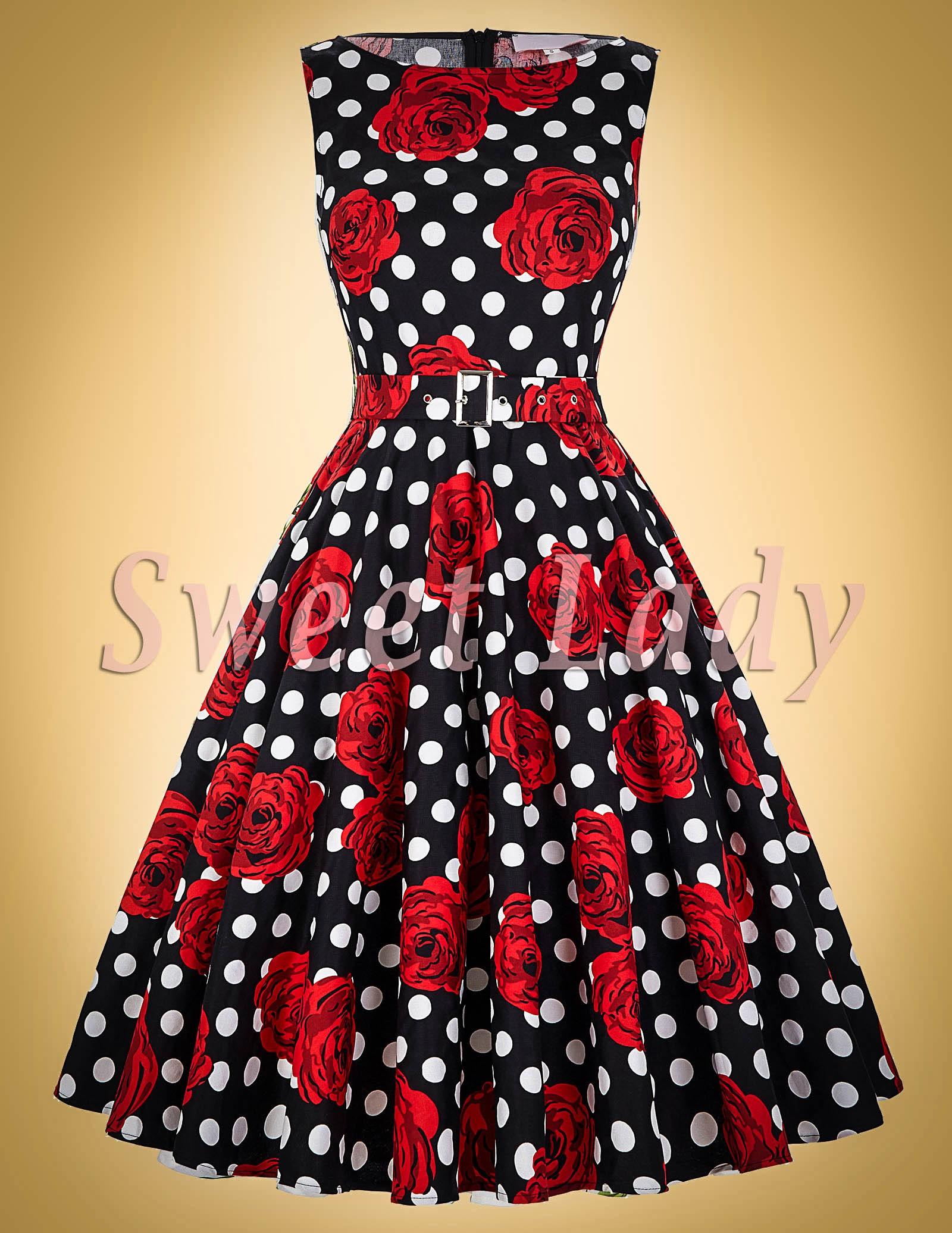 8907022e401e Vzorované retro šaty s páskem