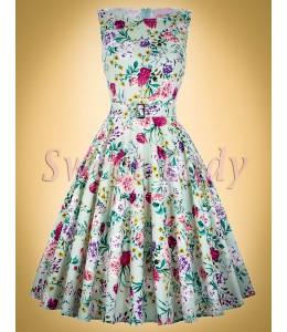 Retro šaty so vzorovanou potlačou