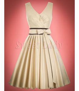 Krémové saténové retro šaty