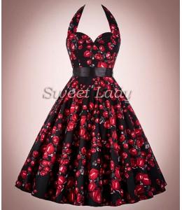 Kvetované retro šaty okolo krku