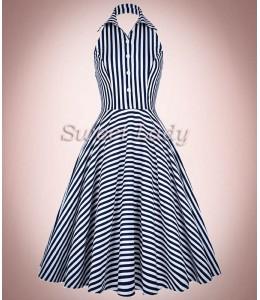Pásikavé retro šaty s golierikom