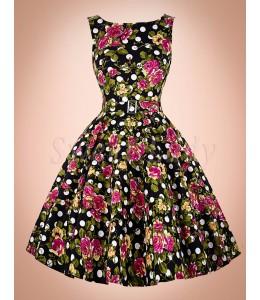 Prekrásne retro šaty s kvetovanou polačou 010