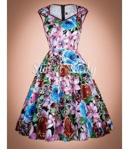 Farebné letné šaty v retro štýle