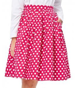 Krásna áčková bodkovaná sukňa v štýle retro