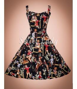 Netradičné retro šaty na ramienka