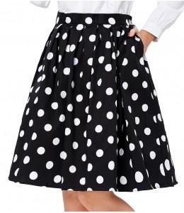 Roztomilá bodkovaná retro sukňa