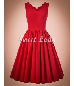Prekrásne červené retro šaty so širokou sukňou