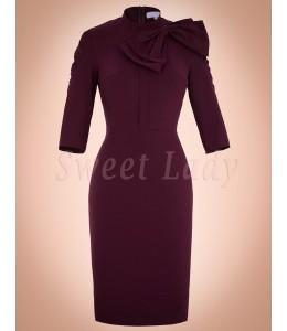 Úzke bordové vintage šaty 012