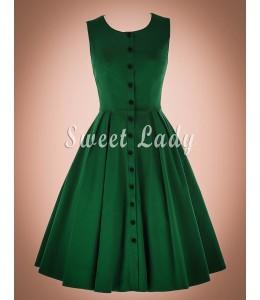 Zelené široké retro šaty s gombíkami