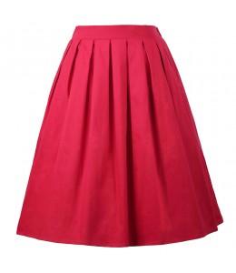 Jednoduchá červená retro sukňa
