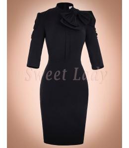 Priliehavé čierne retro šaty 016