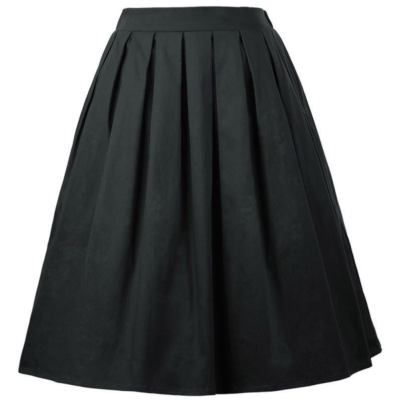 fd4ad57a8bc8 Áčková čierna sukňa v štýle retro