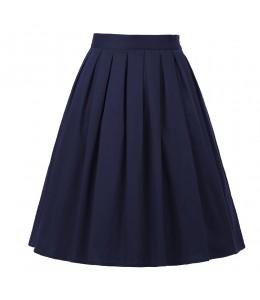 Jednoduchá tmavomodrá retro sukňa