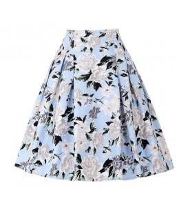 Kvietkovaná retro sukňa