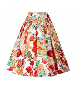 Áčková vzorovaná sukňa v štýle 50-tych. rokov