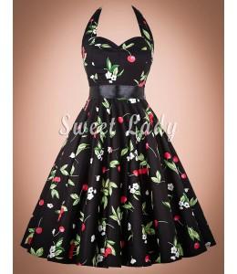 Zaujímavé vintage šaty s čerešničkami