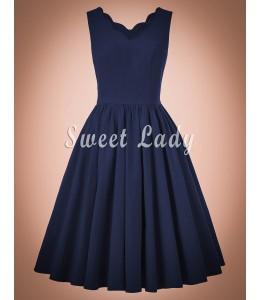 Jednoduché modré retro šaty so širokou sukňou
