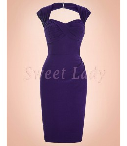 Úzke fialové šaty na štýl 50.roky 018