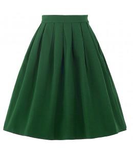 Jednoduchá áčková zelená retro sukňa