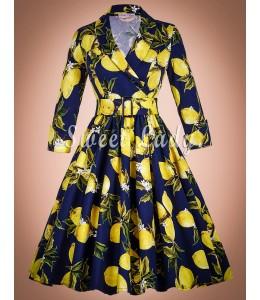 Zaujímavé citrónkové šaty v štýle retro