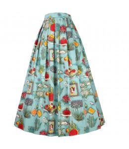 Krásna dlhá vzorovaná sukňa v štýle retro