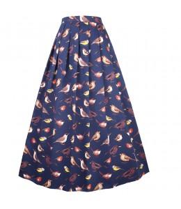 Široká dlhá vzorovaná sukňa v štýle 50-tých. rokov
