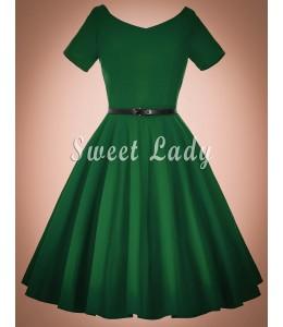 Prekrásne široké retro šaty zelenej farby