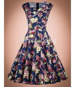 Široké retro šaty s kvetinovým vzorom