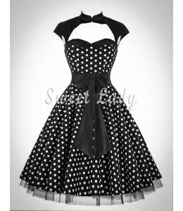 Vintage bodkované šaty so širokou sukňou