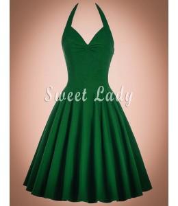 Zelené vintage šaty okolo krku