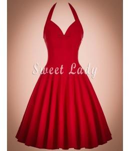 Vintage šaty v červenej farbe z viazaním okolo krku
