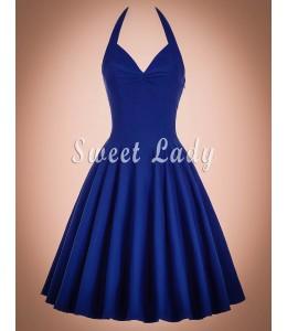 Letné retro šaty okolo krku v modrej farbe