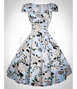 Kvetované vintage šaty so širokou sukňou