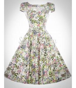 Retro šaty s kvetinovými vzormi