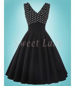 Áčkové čierne šaty s bodkovaným vrškom v štýle 50.roky