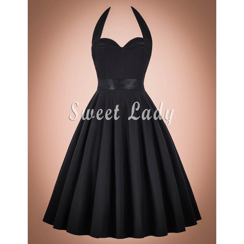 f1325d43f2d Retro černé šaty s vázáním kolem krku