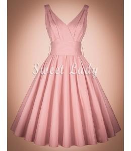 Romantické ružové retro šaty na ramienka