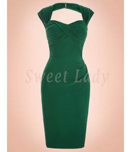 Úzke retro šaty zelené 002