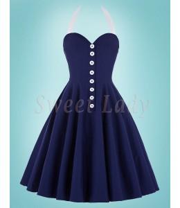 Krásne tmavomodré šaty a áčkovou sukňou v štýle retro 025