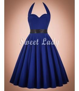 Retro modré šaty s viazaním okolo krku