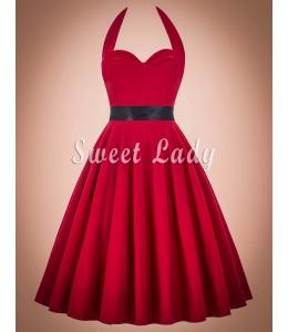 Červené vintage šaty so širokou sukňou