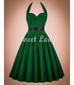 Jednoduché zelené retro šaty uviazané okolo krku