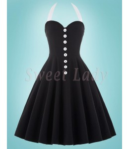 Štýlové čierne retro šaty so širokou sukňou 026