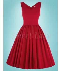 Červené šaty a áčkovou sukňou v retro štýle 027