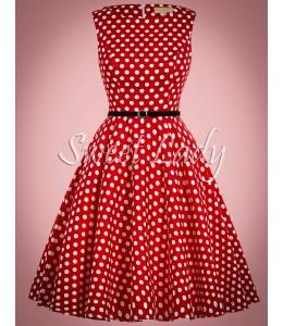 Červené retro šaty s bielymi bodkami