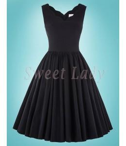 Jednoduché čierne šaty v štýle 50.roky 028